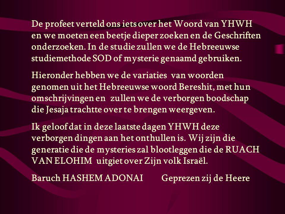 De profeet verteld ons iets over het Woord van YHWH en we moeten een beetje dieper zoeken en de Geschriften onderzoeken. In de studie zullen we de Heb