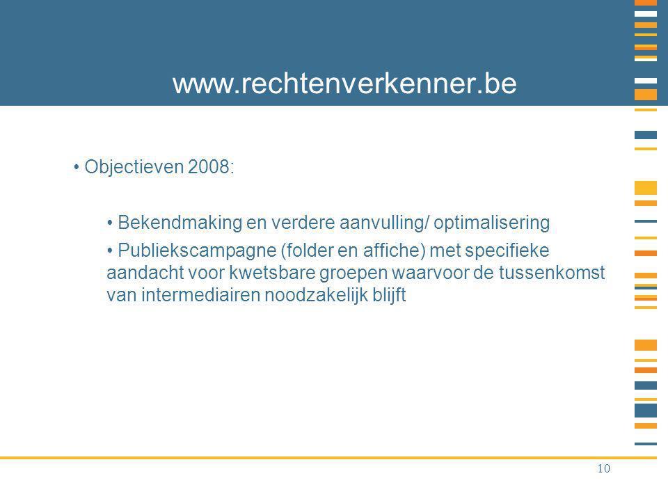 10 www.rechtenverkenner.be Objectieven 2008: Bekendmaking en verdere aanvulling/ optimalisering Publiekscampagne (folder en affiche) met specifieke aandacht voor kwetsbare groepen waarvoor de tussenkomst van intermediairen noodzakelijk blijft