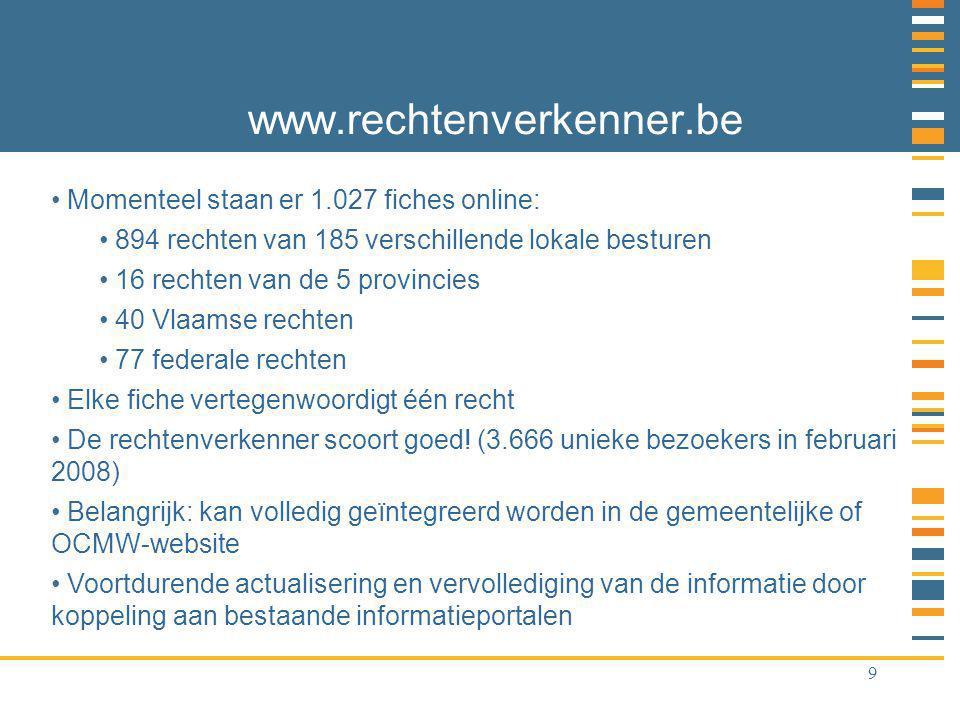 9 www.rechtenverkenner.be Momenteel staan er 1.027 fiches online: 894 rechten van 185 verschillende lokale besturen 16 rechten van de 5 provincies 40 Vlaamse rechten 77 federale rechten Elke fiche vertegenwoordigt één recht De rechtenverkenner scoort goed.