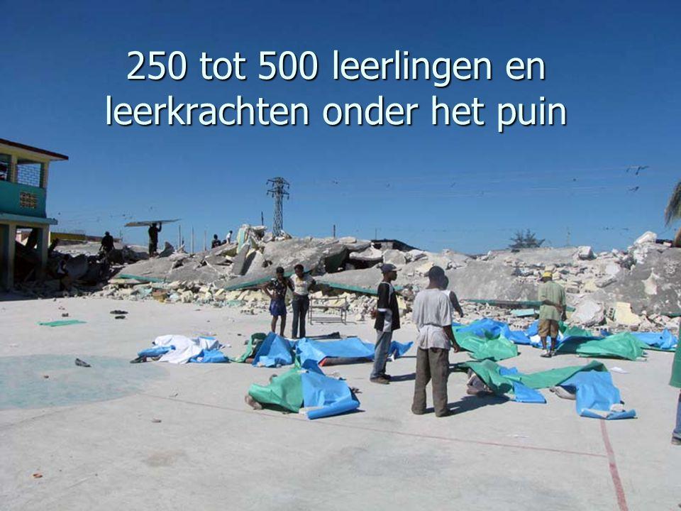 250 tot 500 leerlingen en leerkrachten onder het puin