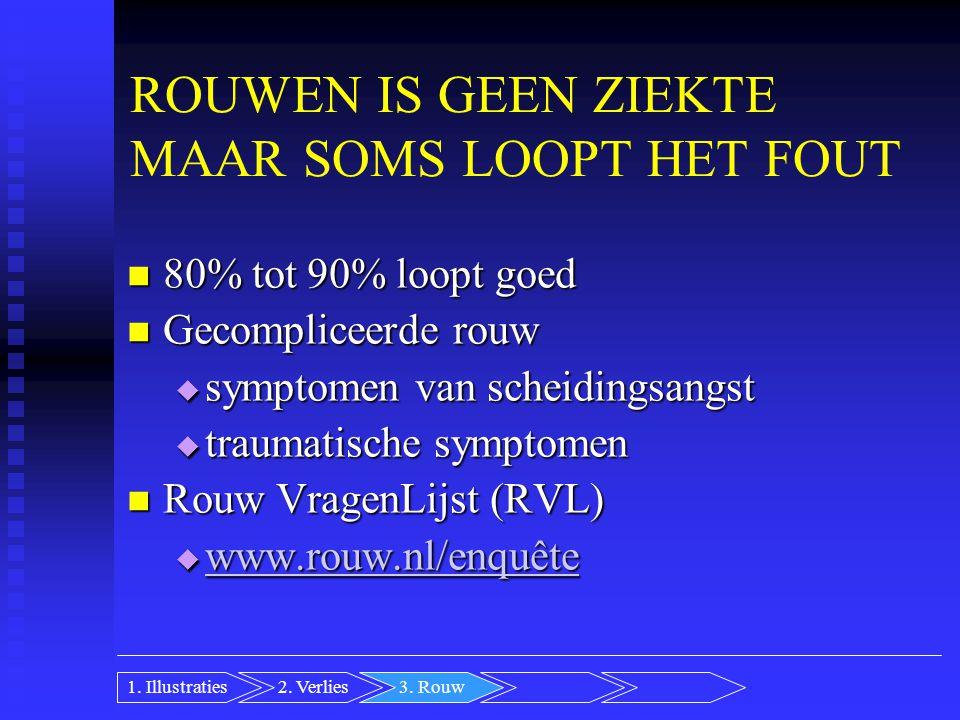 ROUWEN IS GEEN ZIEKTE MAAR SOMS LOOPT HET FOUT 80% tot 90% loopt goed 80% tot 90% loopt goed Gecompliceerde rouw Gecompliceerde rouw  symptomen van scheidingsangst  traumatische symptomen Rouw VragenLijst (RVL) Rouw VragenLijst (RVL)  www.rouw.nl/enquête www.rouw.nl/enquête 2.