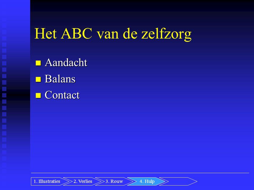 Het ABC van de zelfzorg Aandacht Aandacht Balans Balans Contact Contact 2.