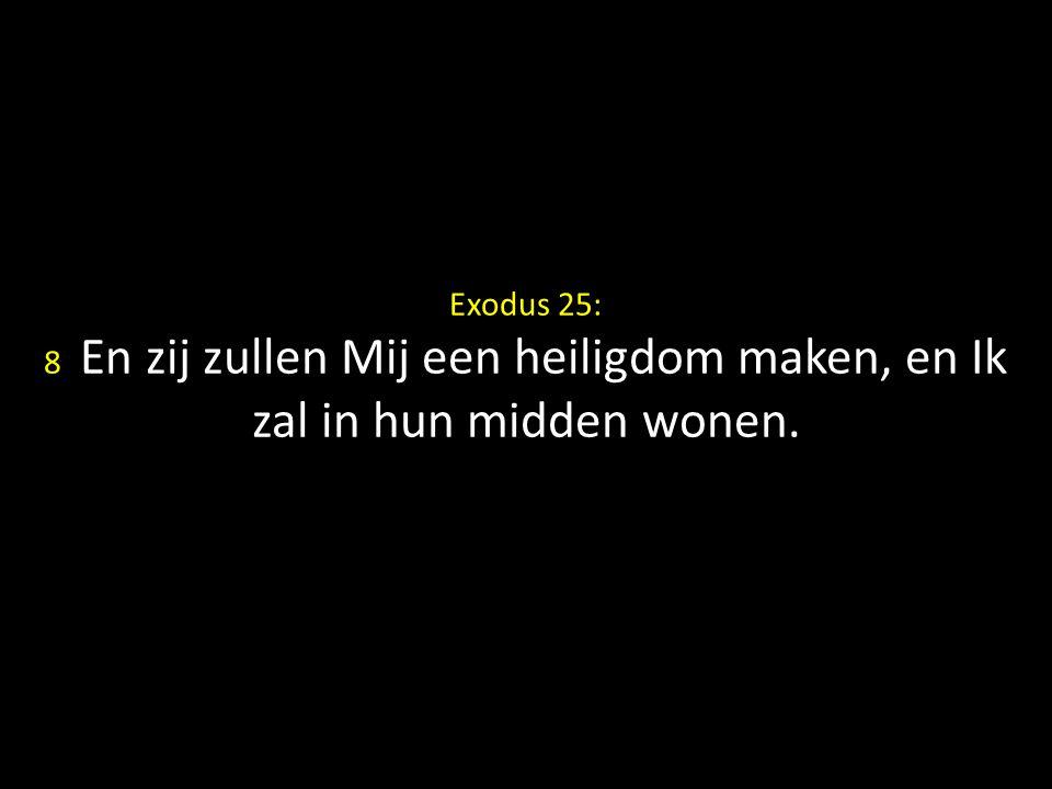 Exodus 25: 8 En zij zullen Mij een heiligdom maken, en Ik zal in hun midden wonen.