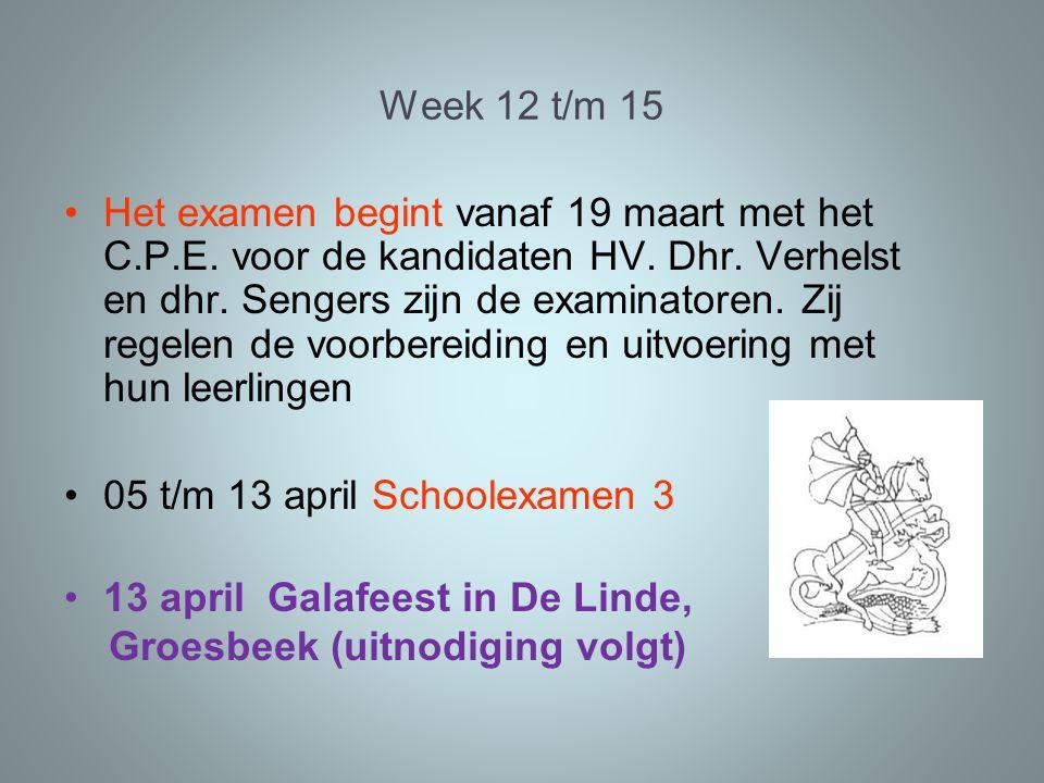 Week 12 t/m 15 Het examen begint vanaf 19 maart met het C.P.E.
