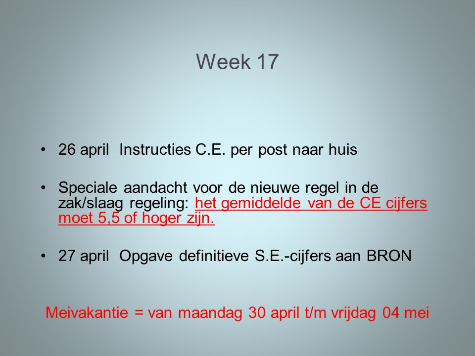 Week april Instructies C.E.