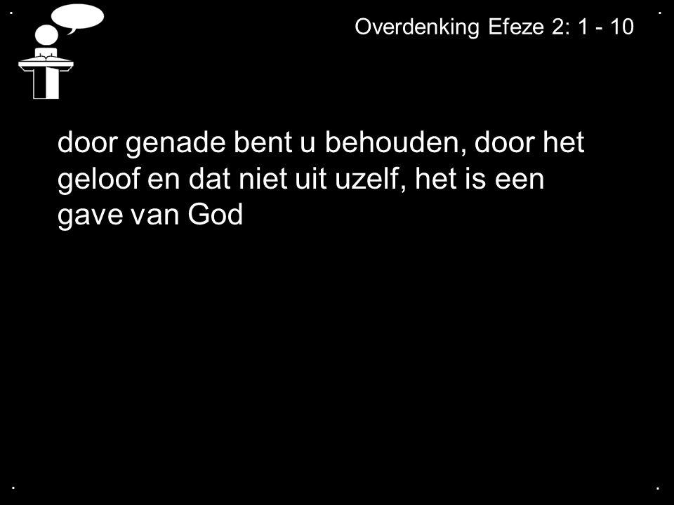 .... Overdenking Efeze 2: 1 - 10 door genade bent u behouden, door het geloof en dat niet uit uzelf, het is een gave van God