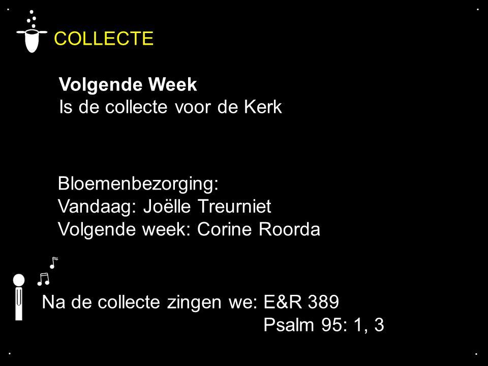 .... COLLECTE Volgende Week Is de collecte voor de Kerk Bloemenbezorging: Vandaag: Joëlle Treurniet Volgende week: Corine Roorda Na de collecte zingen