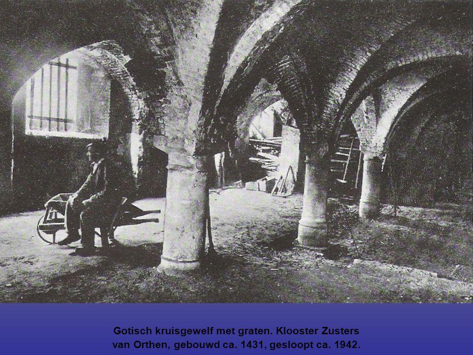 Gotisch kruisgewelf met graten. Klooster Zusters van Orthen, gebouwd ca. 1431, gesloopt ca. 1942.