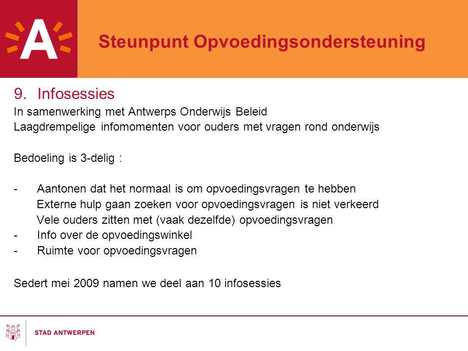 Steunpunt Opvoedingsondersteuning 9.Infosessies In samenwerking met Antwerps Onderwijs Beleid Laagdrempelige infomomenten voor ouders met vragen rond onderwijs Bedoeling is 3-delig : - Aantonen dat het normaal is om opvoedingsvragen te hebben Externe hulp gaan zoeken voor opvoedingsvragen is niet verkeerd Vele ouders zitten met (vaak dezelfde) opvoedingsvragen -Info over de opvoedingswinkel -Ruimte voor opvoedingsvragen Sedert mei 2009 namen we deel aan 10 infosessies