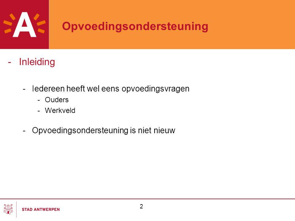 2 Opvoedingsondersteuning -Inleiding -Iedereen heeft wel eens opvoedingsvragen -Ouders -Werkveld -Opvoedingsondersteuning is niet nieuw