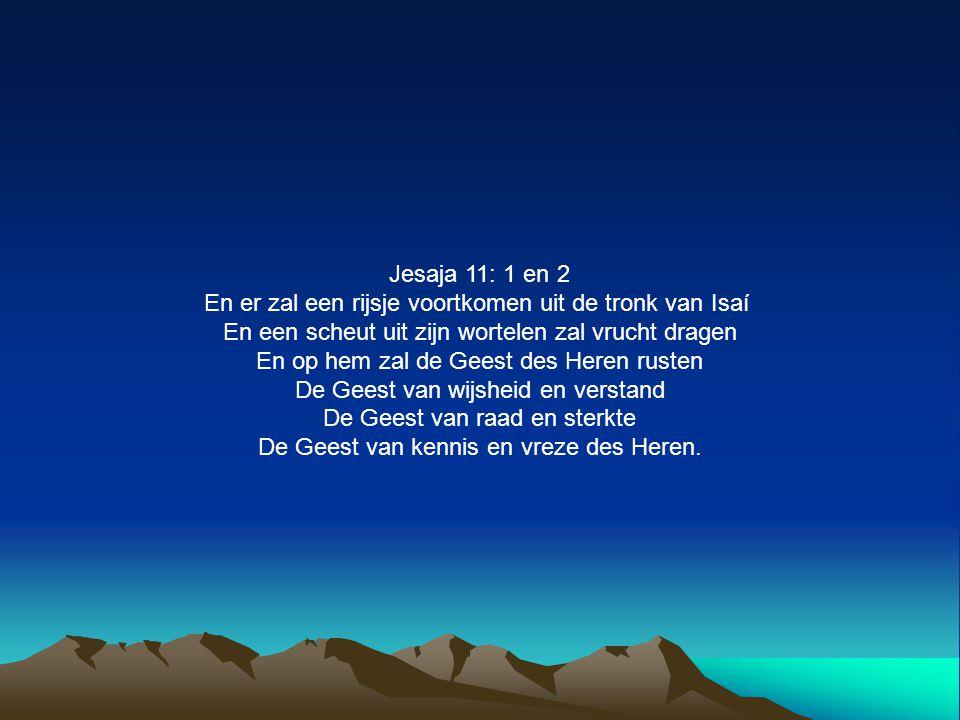 Jesaja 11: 1 en 2 En er zal een rijsje voortkomen uit de tronk van Isaí En een scheut uit zijn wortelen zal vrucht dragen En op hem zal de Geest des H