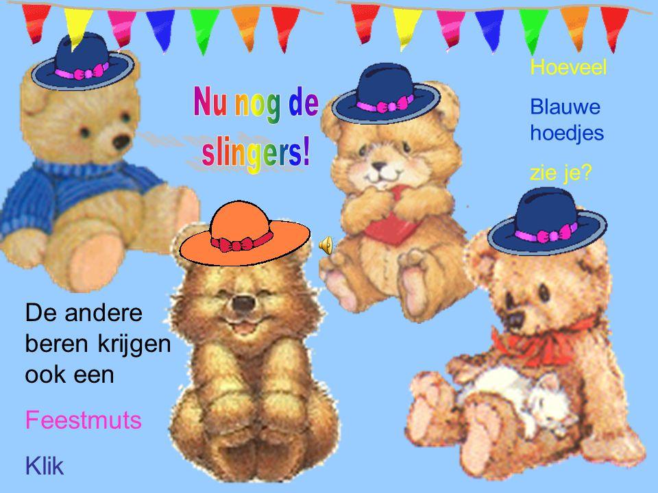 De andere beren krijgen ook een Feestmuts Klik Hoeveel Blauwe hoedjes zie je?