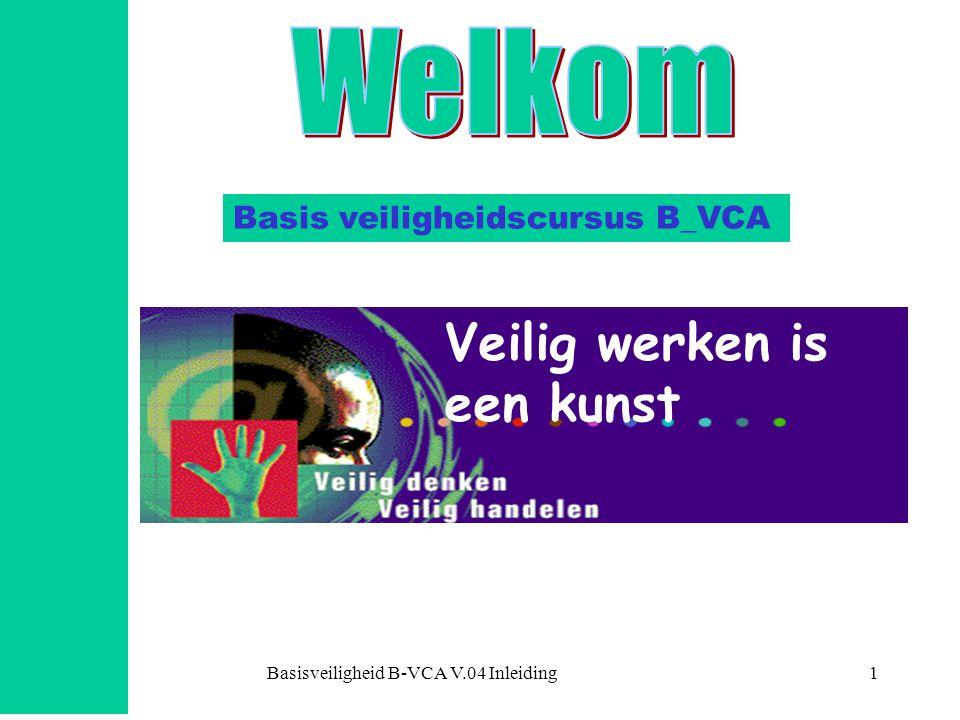 Basisveiligheid B-VCA V.04 Inleiding1 Basis veiligheidscursus B_VCA Veilig werken is een kunst