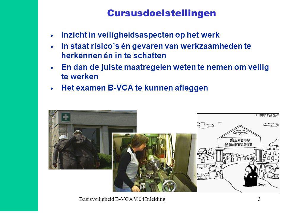 Basisveiligheid B-VCA V.04 Inleiding3 Cursusdoelstellingen  Inzicht in veiligheidsaspecten op het werk  In staat risico's én gevaren van werkzaamhed