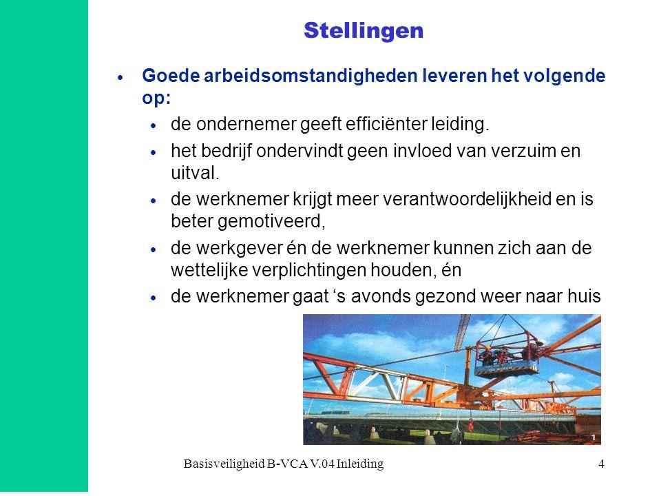 Basisveiligheid B-VCA V.04 Inleiding4 Stellingen  Goede arbeidsomstandigheden leveren het volgende op:  de ondernemer geeft efficiënter leiding.  h