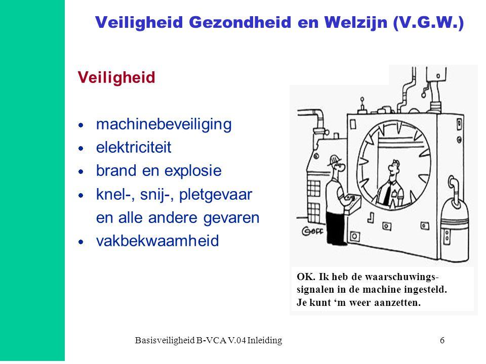 Basisveiligheid B-VCA V.04 Inleiding6 Veiligheid Gezondheid en Welzijn (V.G.W.) Veiligheid  machinebeveiliging  elektriciteit  brand en explosie 