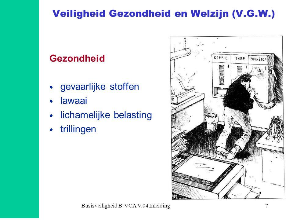 Basisveiligheid B-VCA V.04 Inleiding8 Veiligheid Gezondheid en Welzijn (V.G.W.) Welzijn  werkdruk  zelfstandigheid  variatie  vakbekwaamheid  informatievoorziening