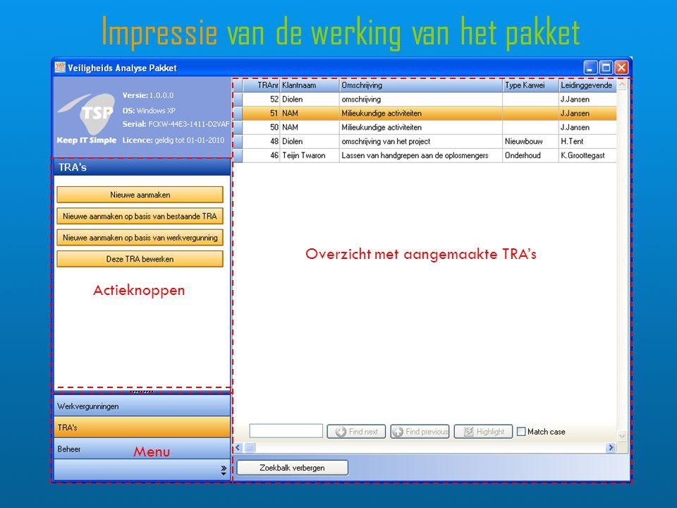 Impressie van de werking van het pakket Overzicht met aangemaakte TRA's Actieknoppen Menu