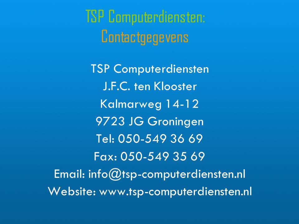 TSP Computerdiensten: Contactgegevens TSP Computerdiensten J.F.C.