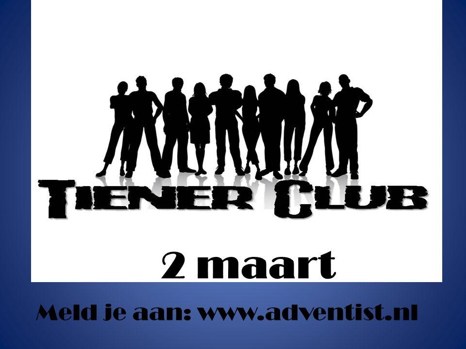 Iedere 1 e sabbat van de maand 14.30 – 21.30 uur Huis ter Heide Meld je aan: www.adventist.nl 2 maart