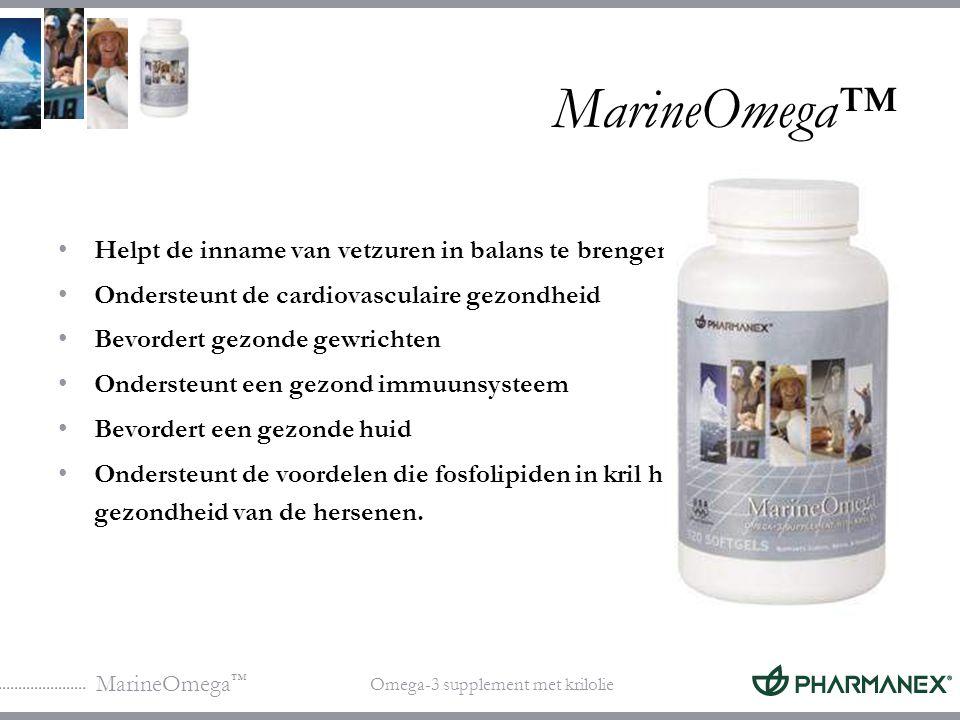 MarineOmega ™ Omega-3 supplement met krilolie Ingrediënten in MarineOmega ™ Bestanddelen Ultrazuivere vetzuren uit visolie Fosfolipiden uit krilolie Vitamine E Natuurlijke citroenolie