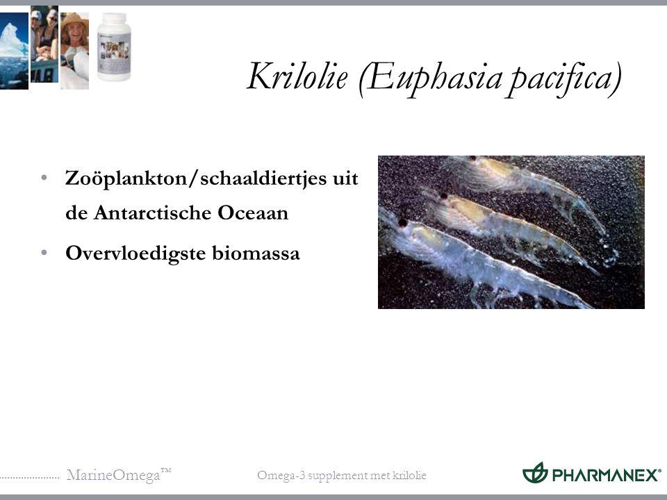 MarineOmega ™ Omega-3 supplement met krilolie Krilolie (Euphasia pacifica) Unieke eigenschappen: Rijk aan fosfolipiden (40%) Rijk aan EPA en DHA Bevat van nature een flavonoïde en carotenoïde antioxidanten (astaxanthine) (<1% wordt gevangen)