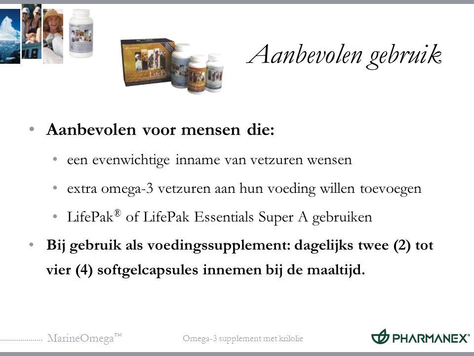MarineOmega ™ Omega-3 supplement met krilolie Aanvullende producten voor specifieke behoeften Gewrichtscomfort: MarineOmega + FlexCare + FlexCrème