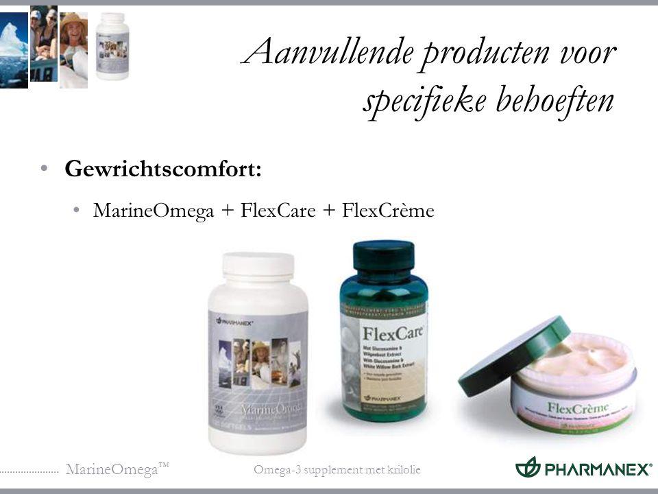 MarineOmega ™ Omega-3 supplement met krilolie Aanvullende producten voor specifieke behoeften FlexCare + FlexCrème FlexCare is verkrijgbaar in België, Luxemburg en Nederland.