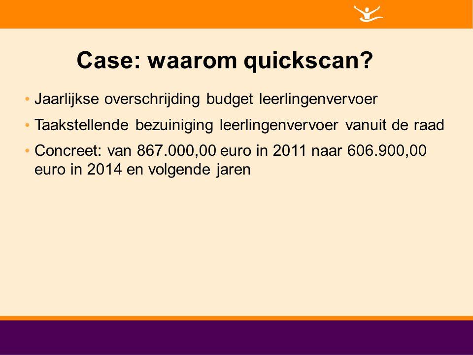 Case: waarom quickscan? Jaarlijkse overschrijding budget leerlingenvervoer Taakstellende bezuiniging leerlingenvervoer vanuit de raad Concreet: van 86