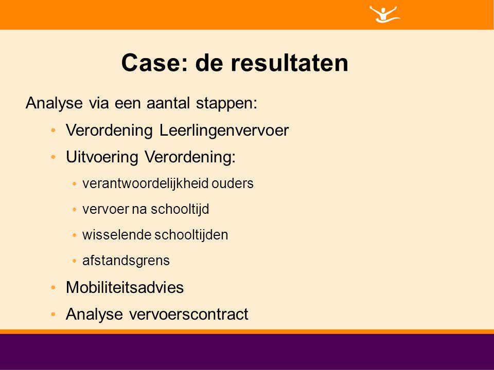 Case: de resultaten Analyse via een aantal stappen: Verordening Leerlingenvervoer Uitvoering Verordening: verantwoordelijkheid ouders vervoer na schoo