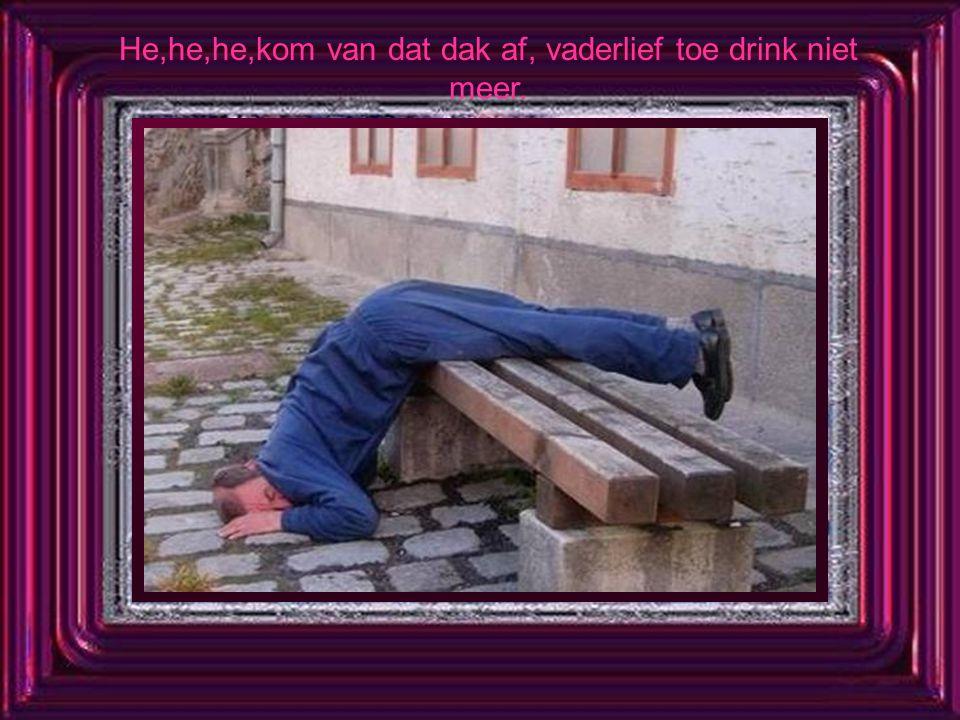 He,he,he,kom van dat dak af, vaderlief toe drink niet meer.