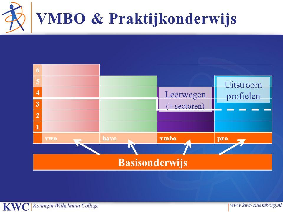 VMBO & Praktijkonderwijs 6 5 4 3 2 1 vwohavovmbopro Basisonderwijs Leerwegen (+ sectoren) Uitstroom profielen
