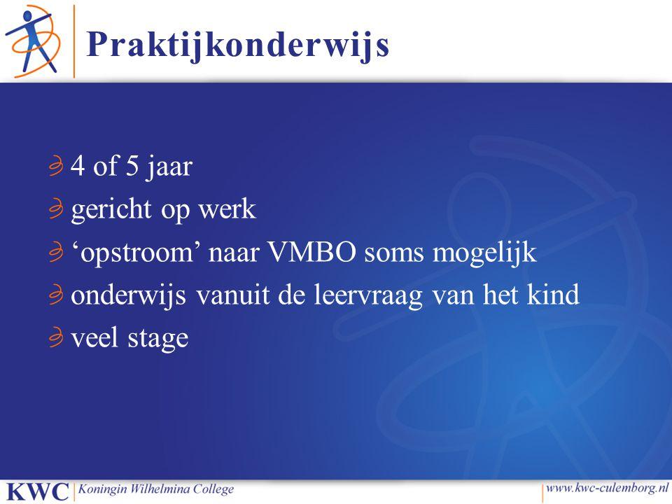 4 of 5 jaar gericht op werk 'opstroom' naar VMBO soms mogelijk onderwijs vanuit de leervraag van het kind veel stage