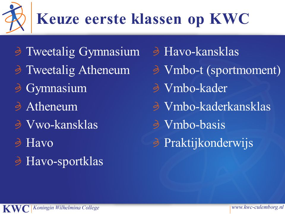 Keuze eerste klassen op KWC Tweetalig Gymnasium Tweetalig Atheneum Gymnasium Atheneum Vwo-kansklas Havo Havo-sportklas Havo-kansklas Vmbo-t (sportmoment) Vmbo-kader Vmbo-kaderkansklas Vmbo-basis Praktijkonderwijs