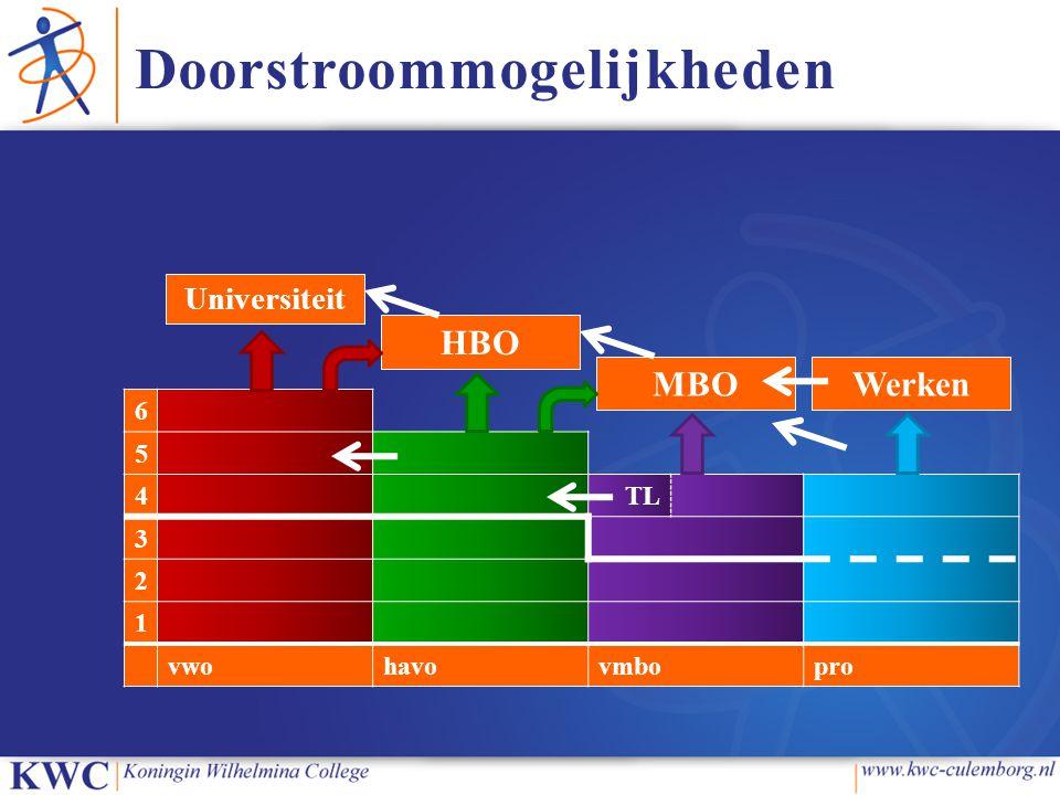 Doorstroommogelijkheden 6 5 4TL 3 2 1 vwohavovmbopro Universiteit HBO MBOWerken