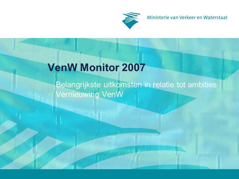 2007*2005 AZ 6,1 BuZa 6,16,5 VWS 6,1 BZK 66,2 EZ 65,9 LNV 66,3 VenW 5,86,1 Defensie 5,86,2 Justitie 5,75,6 Financiën 5,65,9 OCenW 5,66,2 SZW 5,65,8 VROM 5,66,2 Algemeen oordeel Rapportcijfers, trend en benchmark Benchmark Medewerkers Burgers 2007*2005 VenW 6,86,7 RWS 6,86,7 IVW 6,56 2007*2005 VenW 5,86,1 RWS 6,76,8 IVW 6,6 = gelijk gebleven = verslechterd = verbeterd * Verschillen niet significant, hooguit indicatief ** Resultaten over alle andere ministeries bij elkaar VenW Bench mark ** aanspreekbaar op beleid 2218 is omgevingsbewust 3722 informeert de samenleving snel en zorgvuldig 3018 betrekt de samenleving bij het ontwikkelen van het beleid 1811 is transparant 139 is samenwerkingsgericht 2324 lost problemen op in goede samenwerking met anderen 2421 is resultaatgericht 3834 is oplossingsgericht 3525 is flexibel 1513 % past (zeer) goed