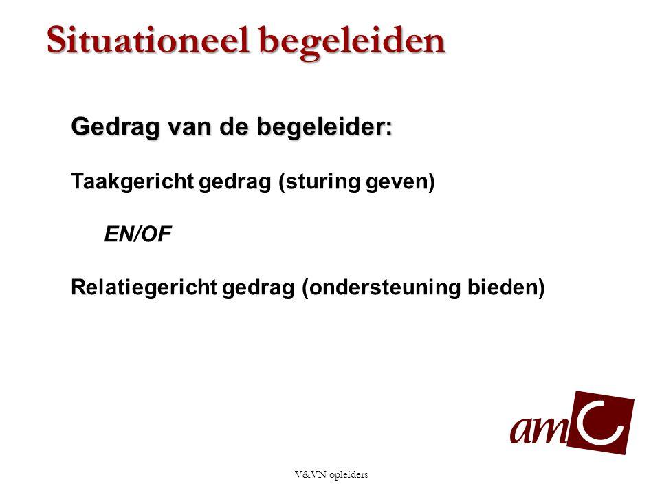 V&VN opleiders Gedrag van de begeleider: Taakgericht gedrag (sturing geven) EN/OF Relatiegericht gedrag (ondersteuning bieden) Situationeel begeleiden