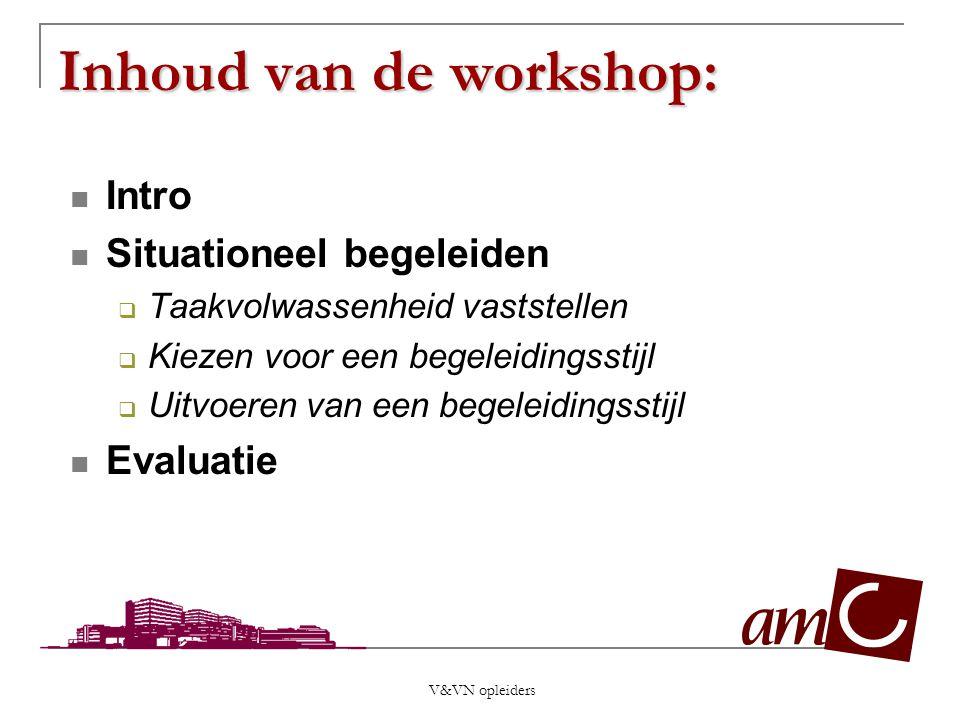 V&VN opleiders Inhoud van de workshop: Intro Situationeel begeleiden  Taakvolwassenheid vaststellen  Kiezen voor een begeleidingsstijl  Uitvoeren v