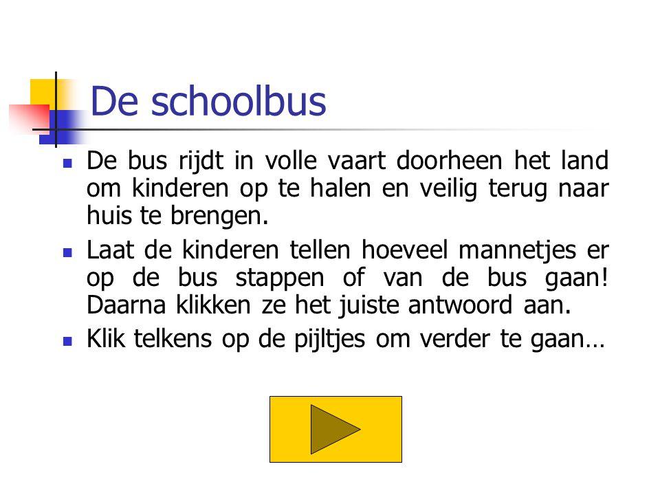 De schoolbus De bus rijdt in volle vaart doorheen het land om kinderen op te halen en veilig terug naar huis te brengen. Laat de kinderen tellen hoeve