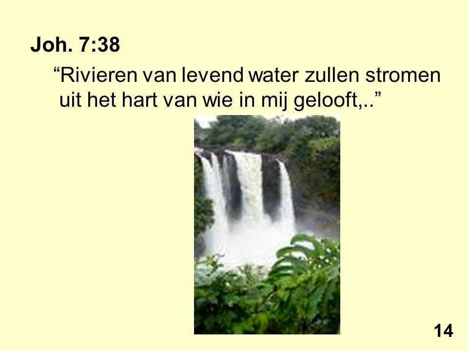 """Joh. 7:38 """"Rivieren van levend water zullen stromen uit het hart van wie in mij gelooft,.."""" 14"""