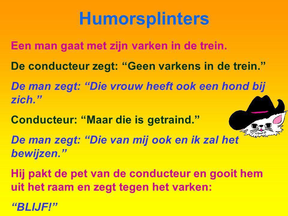 Humorsplinters Een man gaat met zijn varken in de trein.