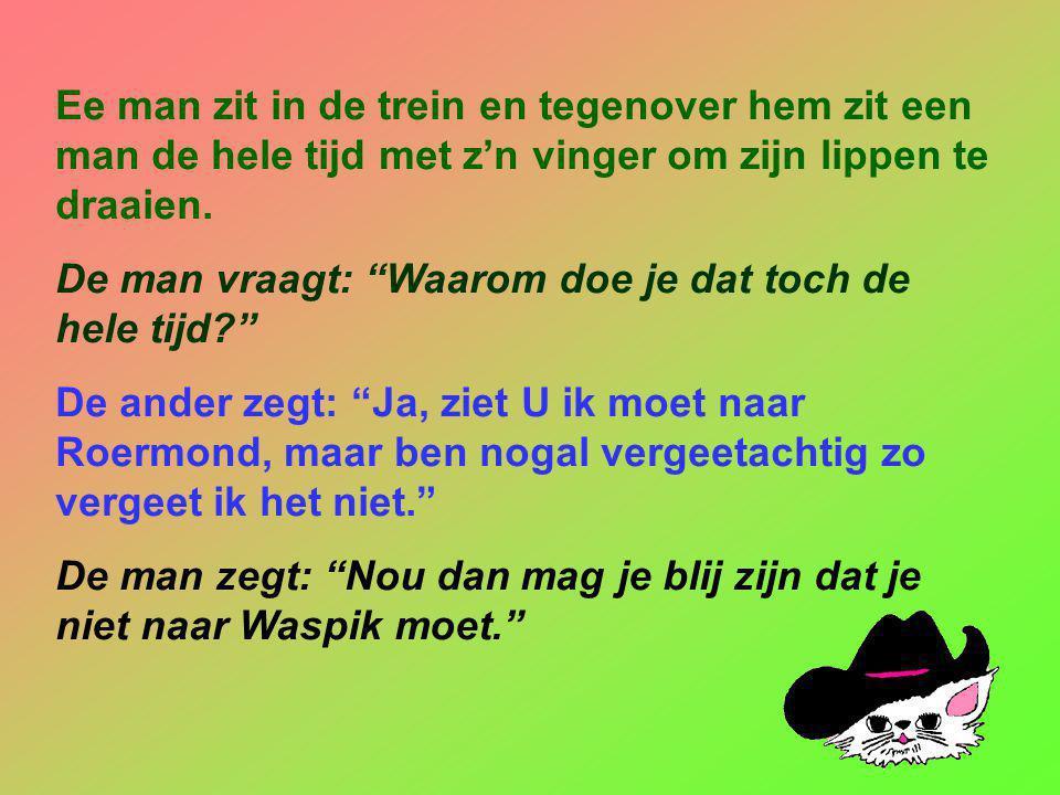 """Twee mannen Klaas en Piet ontmoeten elkaar in een café en raken aan de praat. Klaas vraagt: """"Wat doe jij voor de kost."""" Piet zegt: """"Ik stempel brieven"""