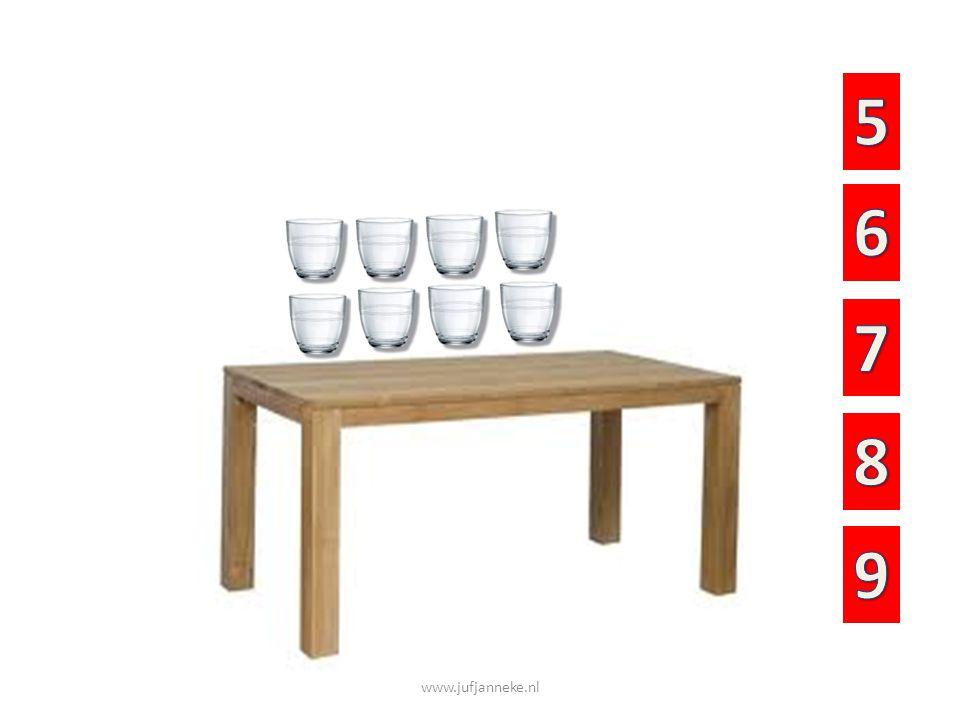 Hoeveel glazen staan er op de tafel?
