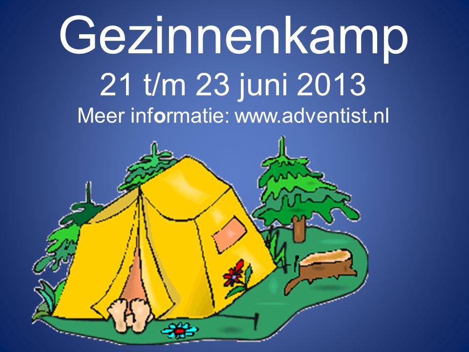 Gezinnenkamp 21 t/m 23 juni 2013 Meer informatie: www.adventist.nl