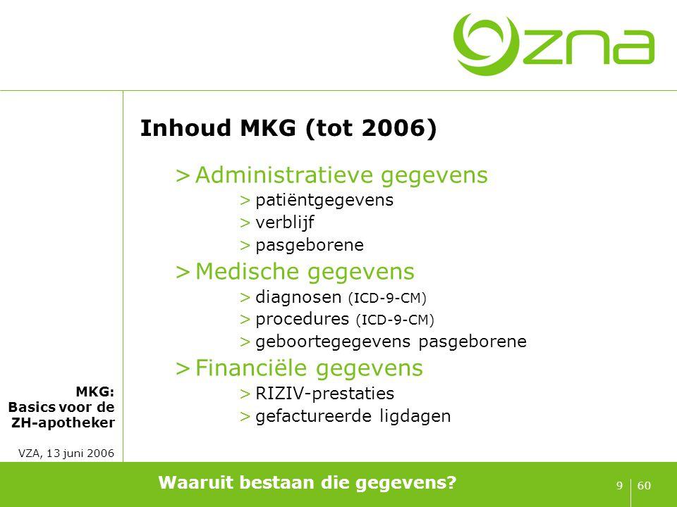 MKG: Basics voor de ZH-apotheker VZA, 13 juni 2006 609 Inhoud MKG (tot 2006) >Administratieve gegevens >patiëntgegevens >verblijf >pasgeborene >Medisc