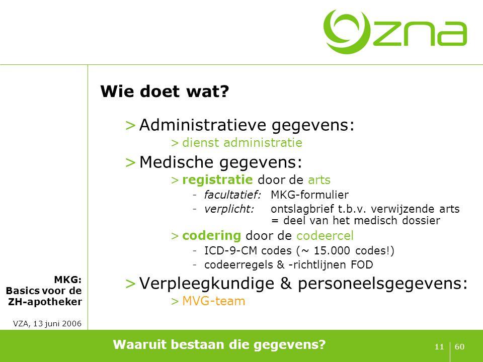 MKG: Basics voor de ZH-apotheker VZA, 13 juni 2006 6011 Wie doet wat? >Administratieve gegevens: >dienst administratie >Medische gegevens: >registrati
