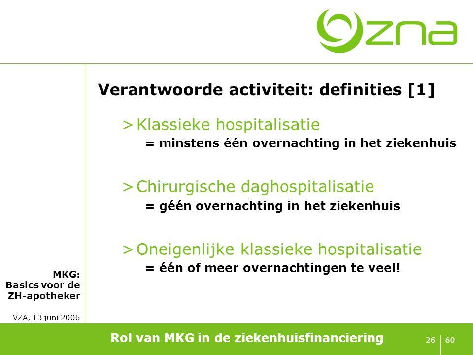 MKG: Basics voor de ZH-apotheker VZA, 13 juni 2006 6026 Verantwoorde activiteit: definities [1] >Klassieke hospitalisatie = minstens één overnachting