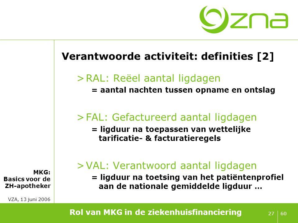 MKG: Basics voor de ZH-apotheker VZA, 13 juni 2006 6027 Verantwoorde activiteit: definities [2] >RAL: Reëel aantal ligdagen = aantal nachten tussen op