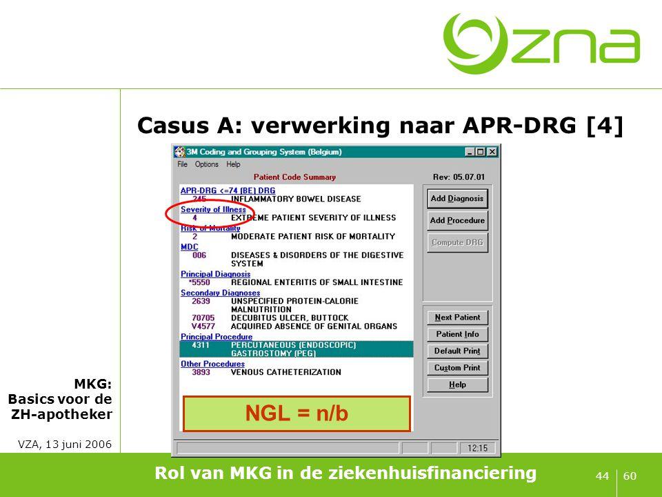MKG: Basics voor de ZH-apotheker VZA, 13 juni 2006 6044 Casus A: verwerking naar APR-DRG [4] Rol van MKG in de ziekenhuisfinanciering NGL = n/b