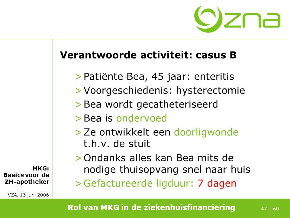 MKG: Basics voor de ZH-apotheker VZA, 13 juni 2006 6047 Verantwoorde activiteit: casus B >Patiënte Bea, 45 jaar: enteritis >Voorgeschiedenis: hysterec